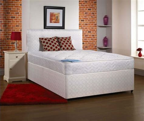 cheap 4ft headboards 5ft king size divan bed base only in white damask fabric