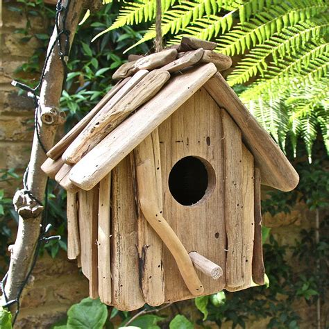 Handcrafted Birdhouses - handmade driftwood birdhouse by garden trading