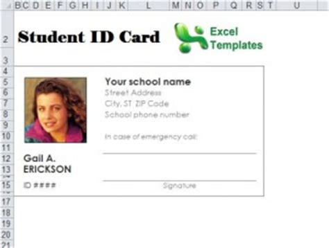 Student Identification Card Template by Excel Templates Excel Spreadsheets