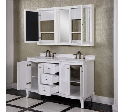 double vanity medicine cabinet accos 60 inch white double bathroom vanity cabinet with