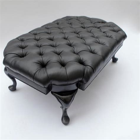 black leather cocktail ottoman fife cocktail ottoman in black leather scot meacham wood