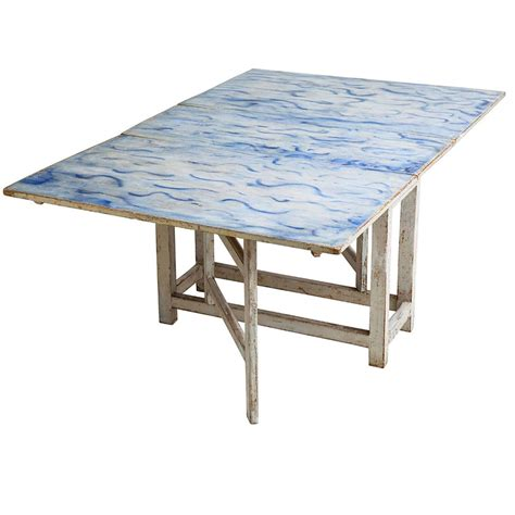 Painted Drop Leaf Table Swedish Blue And White Original Painted Drop Leaf Table Circa 1820 For Sale At 1stdibs