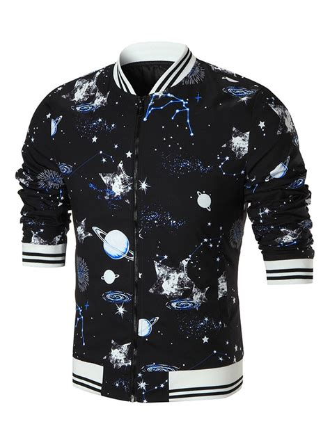 Striped Trim Zip Jacket 2018 galaxy planet print stripe trim zip jacket black xl