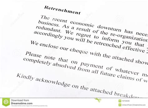 retrenchment letter stock image image retrenchment