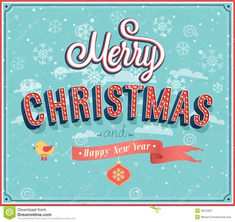 merry christmas typographic design stock vector illustration  card hang