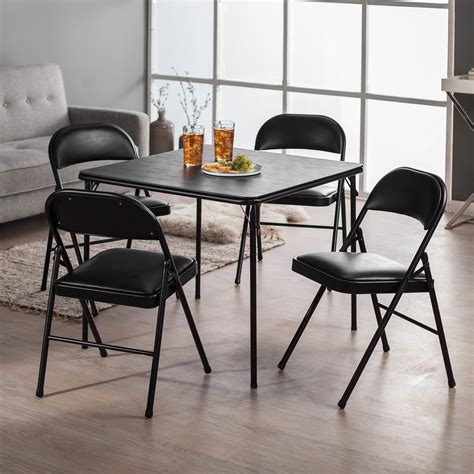 Folding Card Table And Chairs Meco Sudden Comfort Deluxe Padded Chair And Back 5 Card Table Set Black