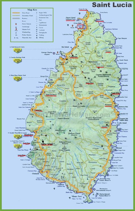 map of st lucia tourist map