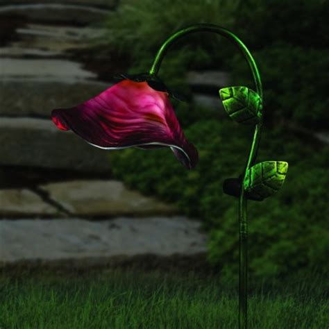 solar flower lights solar powered bell flower garden stake lights