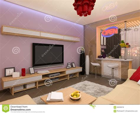 in room 3d render of the interior design of the living room in a modern s stock illustration image