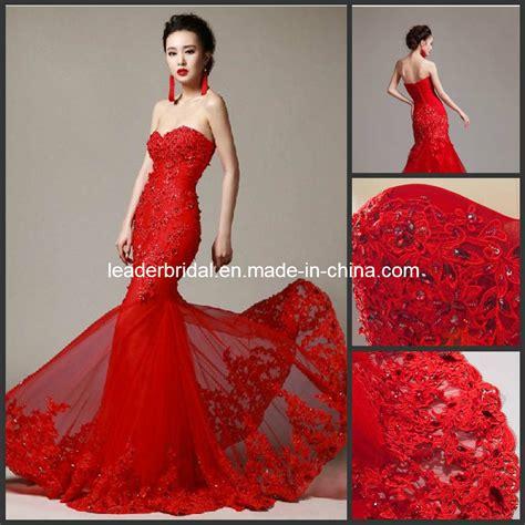 China Red Wedding Dress Lace Mermaid Corset Bridal Wedding