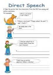 english worksheets direct speech