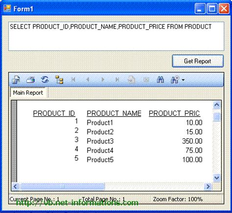 tutorial vb net report dynamic crystal reports from sql query string