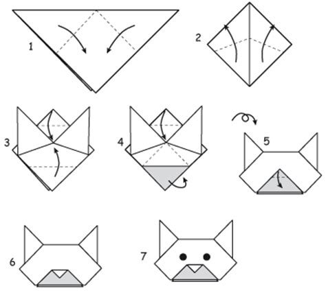 How To Make A Origami Cat - mirelle origami or paper folding