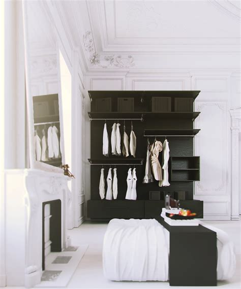 open clothes storage parisian apartment white bedroom with black clothes