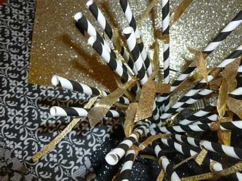 gold ribbon themes straws w gold ribbon for black gold theme sweet 16
