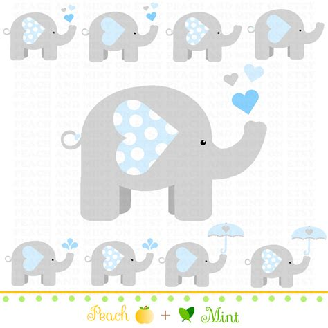 Elephant Baby Shower boy baby elephant clip digital clipart graphics