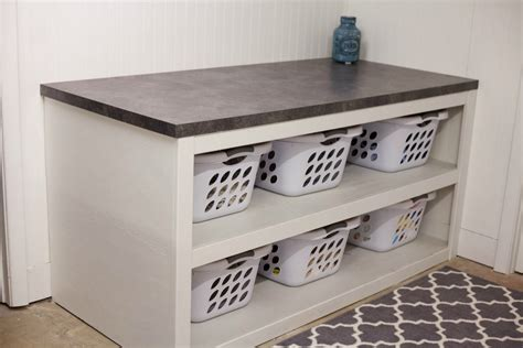 Laundry Folding Table With Storage Laundry Room Office Space Reveal Just Julie