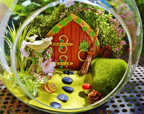 fairy terrarium hobbit garden terrarium garden with birdbath wooden