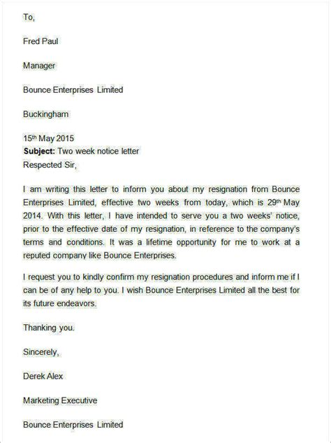 two week notice template two weeks notice letter 13 free documents in word