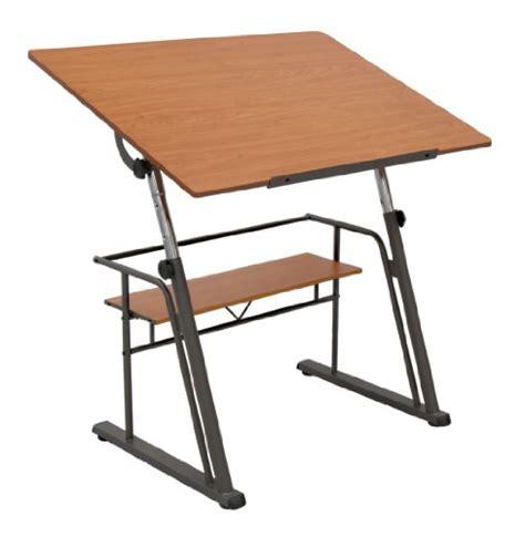 studio designs zenith drafting table in pewter teak 13341