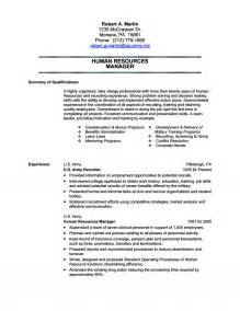 Army Resume Example Human Resources Military Transition Resume