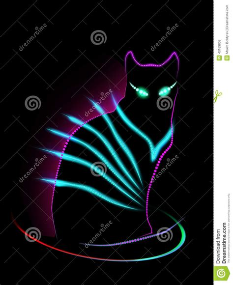 Murah Poster Color Fluorescent Green Cat Poster neon cat stock illustration image 40169808