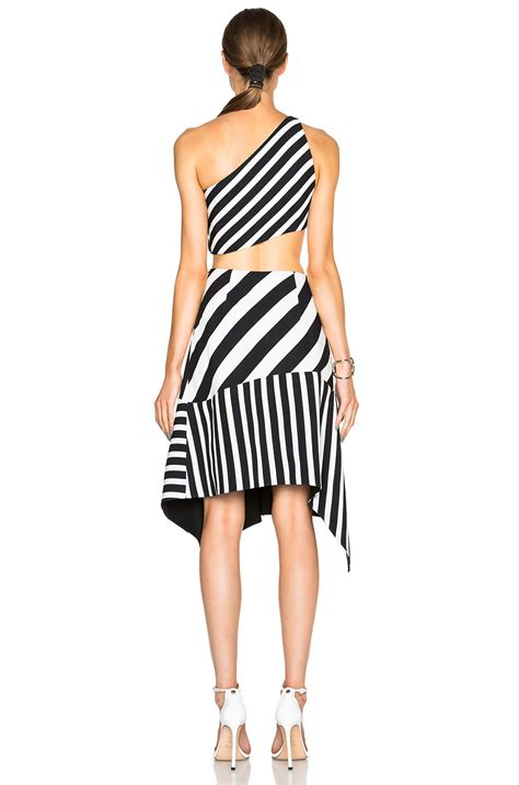 Dress Back Cut Stripe Wedges Limited lyst mugler striped asymmetric neckline crepe gown in black