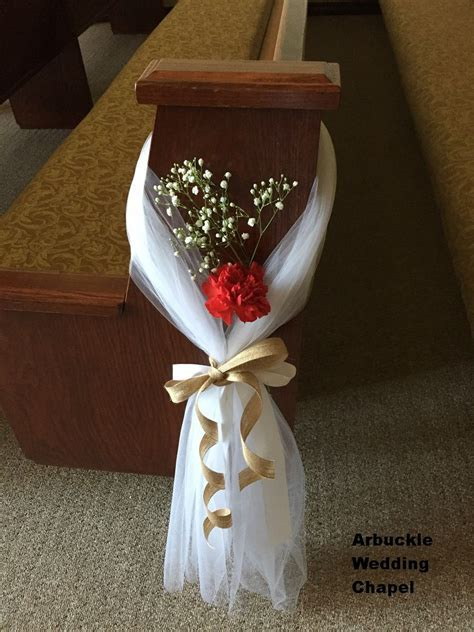 Pew decoration so pretty and easy. White tulle, burlap