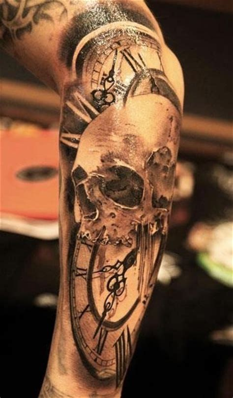 skull and clock tattoo skulls on