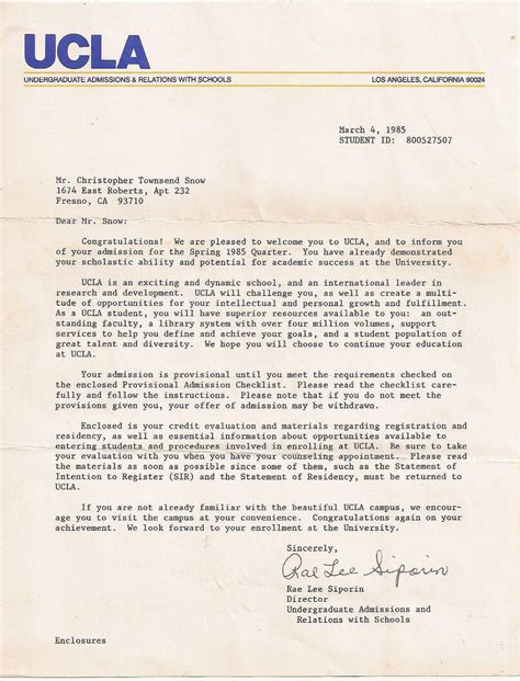 Offer Letter Of Fleming College Ucla Acceptance Letter Ctsnow Flickr