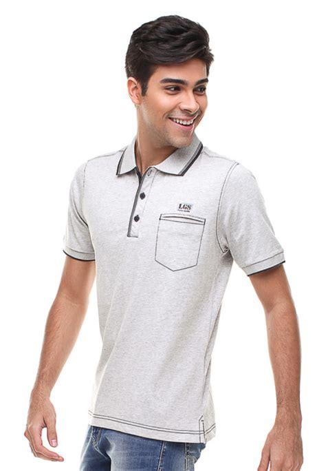 4140 Kaos Polo L regular fit kaos polo kantong tempel putih