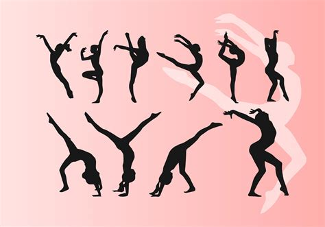 silhouette vector doing artistic dancing gymnastics silhouettes vectors