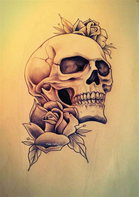 tattoos of roses and skulls 100 ideas to try about my taty sketch