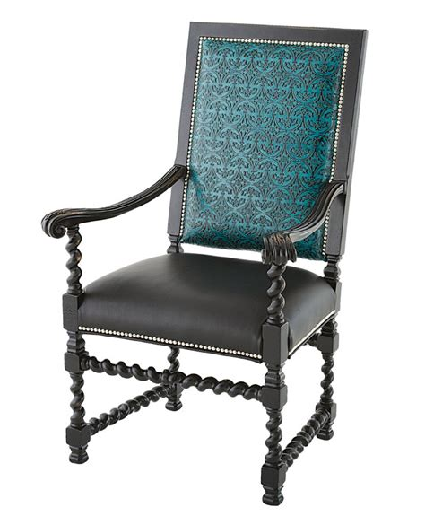Teal Patterned Armchair Embossed Teal Arm Chair Western Dining Chairs Free Shipping