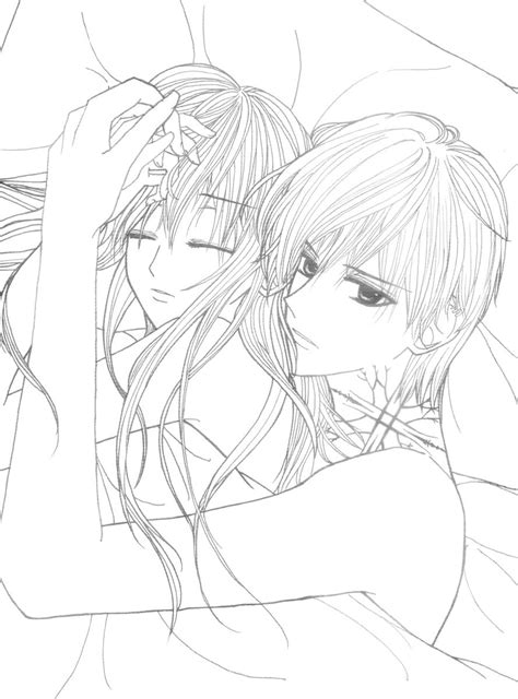 cute anime couple hugging coloring pages