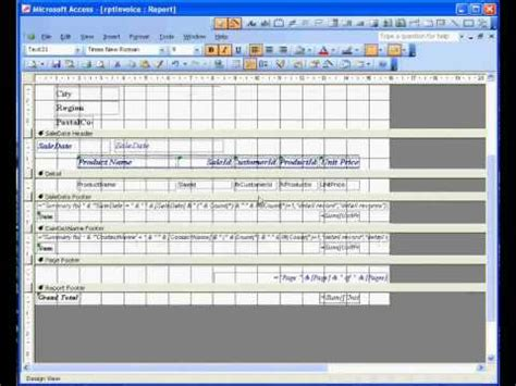 Microsoft Access 174 2003 Sales Invoice 3 Report Youtube Microsoft Access Sales Database Template