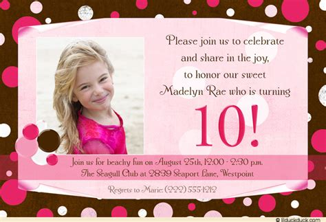 10th birthday card template 10th birthday invitation wording dolanpedia