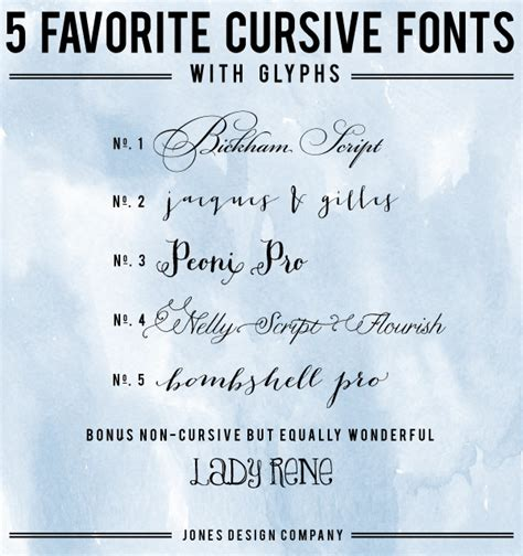 font design company 5 favorite cursive fonts with glyphs and how to use them