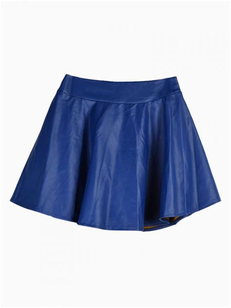 blue skater skirt in leather look choies
