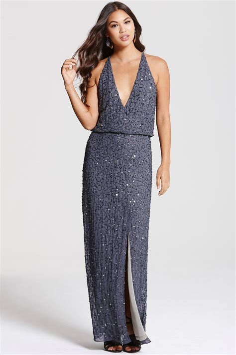 grey v maxi dress from uk