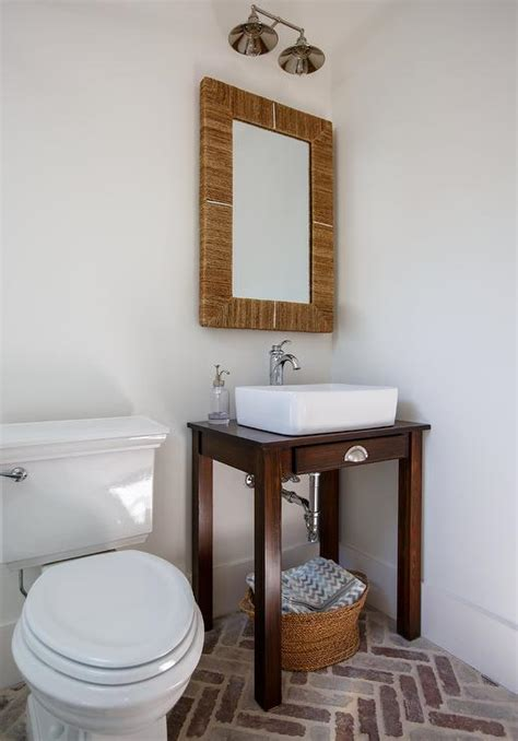 powder room vanities with vessel sinks powder room with seagrass mirror and turned