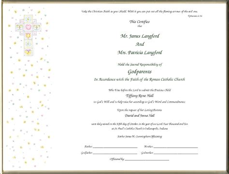 godparent certificate template baby dedication certificates templates baby christening