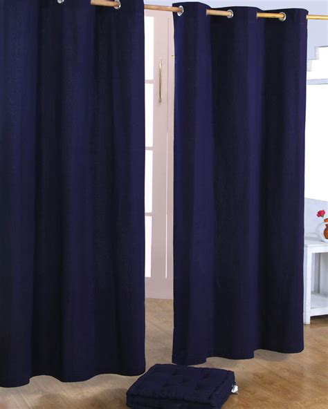 blue eyelet curtains cotton plain navy blue ready made eyelet curtain pair 117