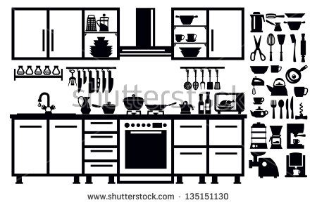 kitchen clipart black and white pencil and in color kitchen clipart black and white