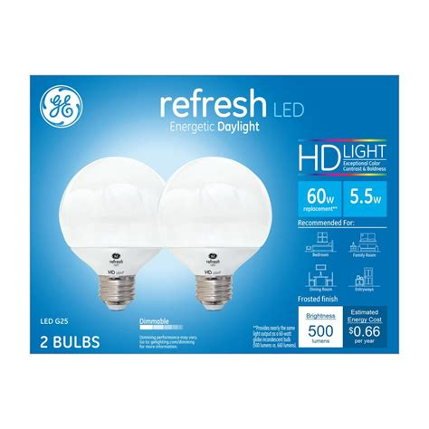 Ge 60w Equivalent Daylight 5000k High Definition G25 Led Light Bulbs Definition