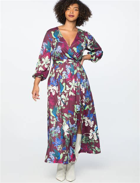 Printed Maxi Dress printed wrap maxi dress s plus size dresses eloquii