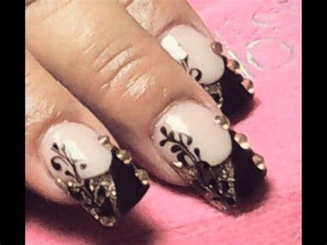 imagenes de uñas negras acrilicas u 241 as de acr 237 lico negras con dorado youtube