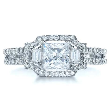 princess cut halo engagement ring vanna k 1313