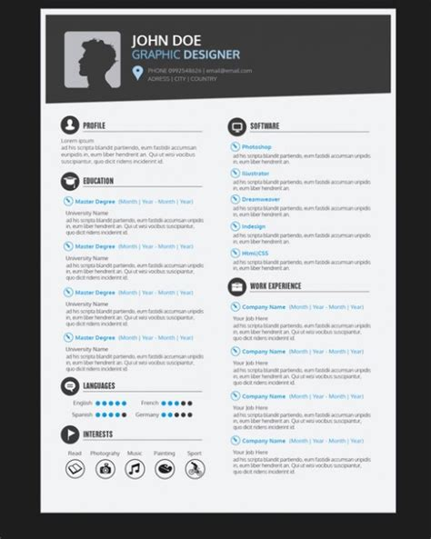 graphic design cv template uk graphic designer resume template vector free download