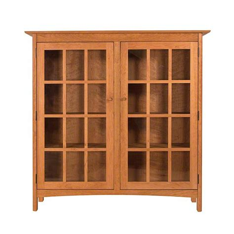 Wood Bookcase With Glass Doors Solid Wood Shaker Style Bookcase With Glass Doors High End Vermont Made Furniture